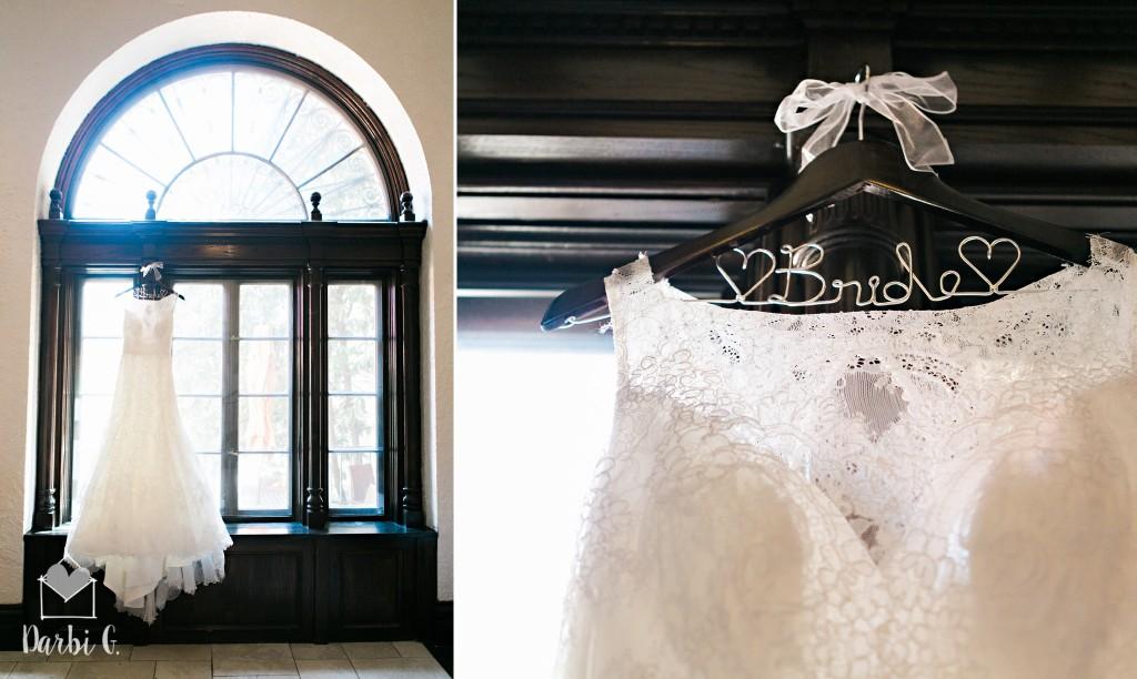 Wedding dress in window at